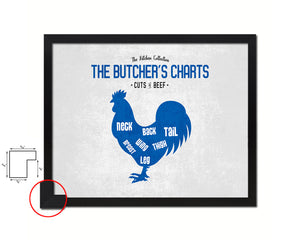 Chicken  Meat Cuts Butchers Chart Wood Framed Paper Print Home Decor Wall Art Gifts