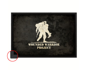 Wounded Warrior Project American Vintage Military Flag Framed Print Sign Decor Wall Art Gifts