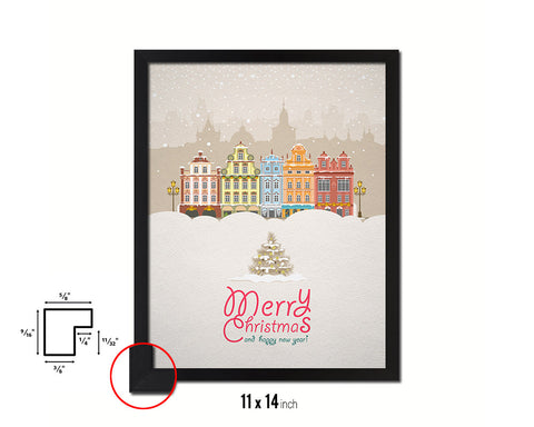 Merry Christmas and Happy New Year Holiday Season Gifts Wood Framed Print Home Decor Wall Art