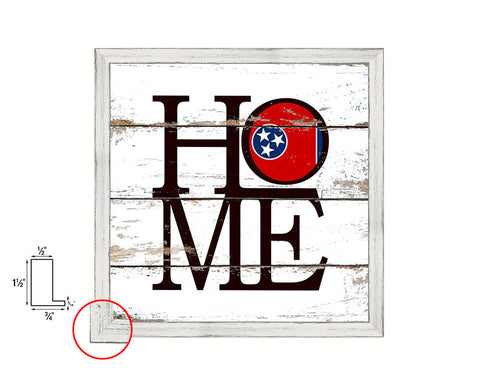 Tennessee State Flag Shabby Chic Home Decor White Wash Wood Frame Wall Art Prints Gift