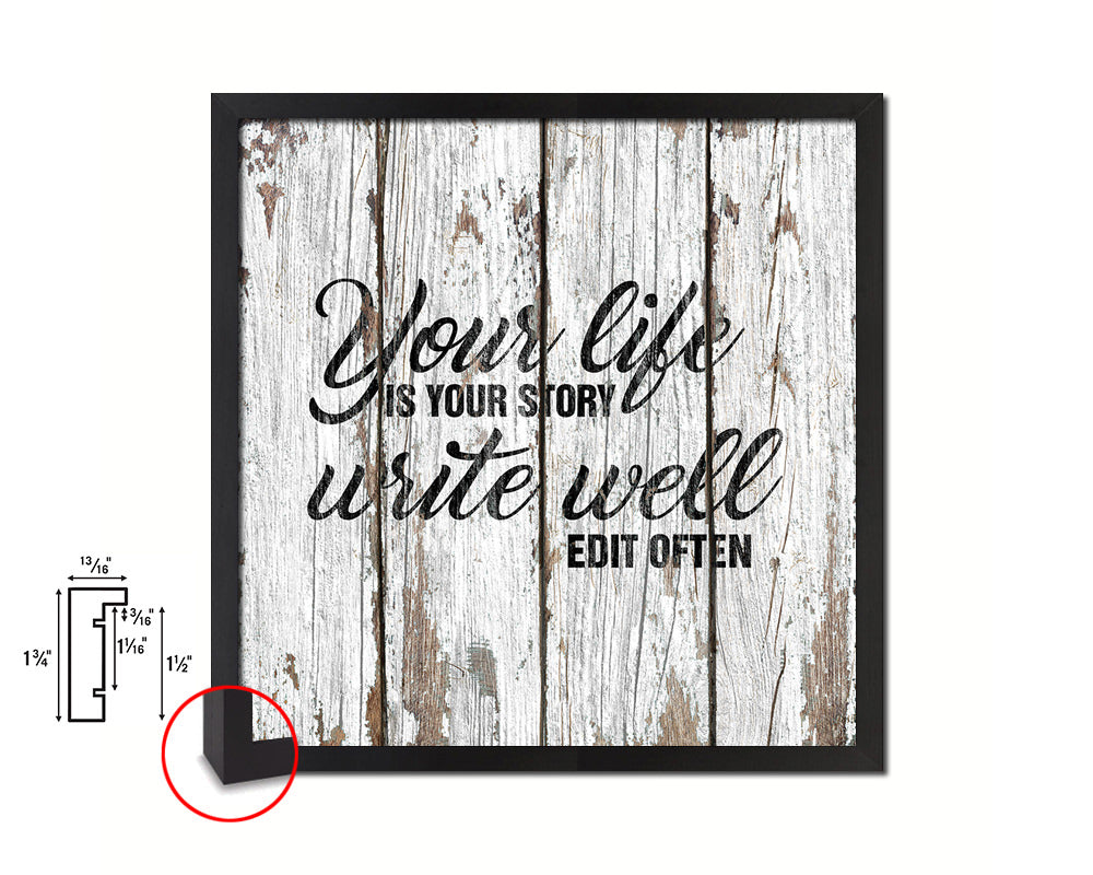 Your life is your story write well edit often Quote Framed Print Home Decor Wall Art Gifts