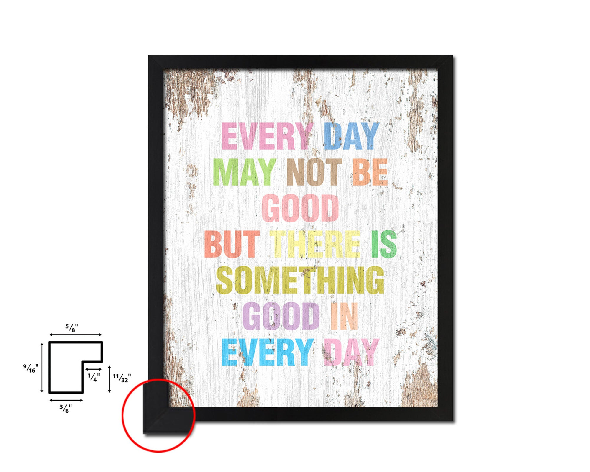Every day may not be good Quote Wood Framed Print Home Decor Wall Art Gifts