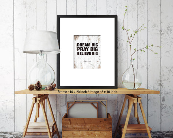 Dream Pray Bbelieve Big Quote Wood Framed Print Home Decor Wall Art Gifts