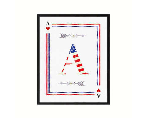 Letter A Custom Monogram Card Decks Heart American Flag Framed Print Wall Art Decor Gifts