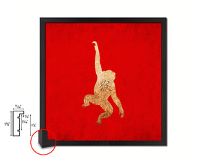 Monkey Chinese Zodiac Character Wood Framed Print Wall Art Decor Gifts, Red