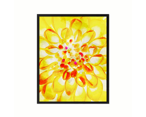 Chrysanthemum Yellow Flower Wood Framed Paper Print Wall Decor Art Gifts
