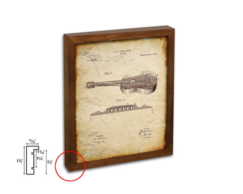 Acoustic Guitar Music Vintage Patent Artwork Walnut Frame Gifts
