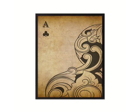 Ace of Clover Cards Fine Art Paper Prints Wood Framed Wall Art Decor Gifts