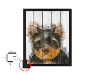 Yorkshire Terrier Dog Puppy Portrait Framed Print Pet Watercolor Wall Decor Art Gifts