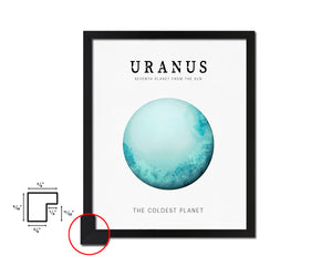Uranus Planet Prints Watercolor Solar System Framed Print Home Decor Wall Art Gifts