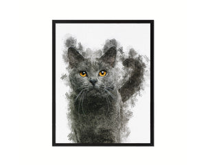 Chartreux 16 months Cat Kitten Portrait Framed Print Pet Home Decor Custom Watercolor Wall Art Gifts