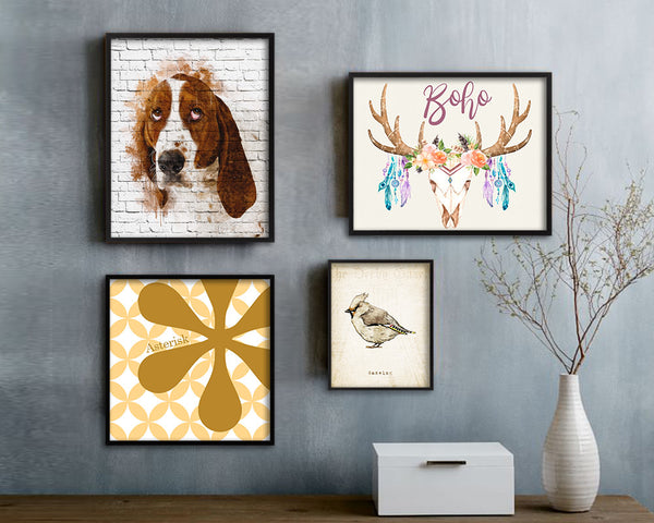 Basset Hound Dog Puppy Portrait Framed Print Pet Home Decor Custom Watercolor Wall Art Gifts