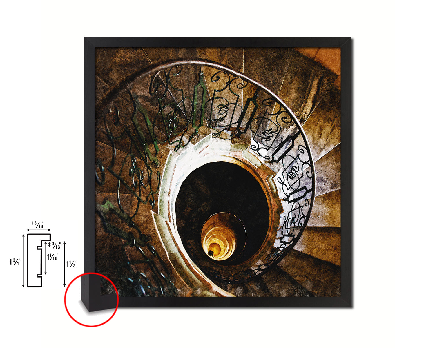 Marble Iron Vintage Spiral Staircase Black Framed Print Interior Wall Decor Art Gifts