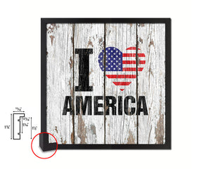 I love America Quote Framed Print Home Decor Wall Art Gifts