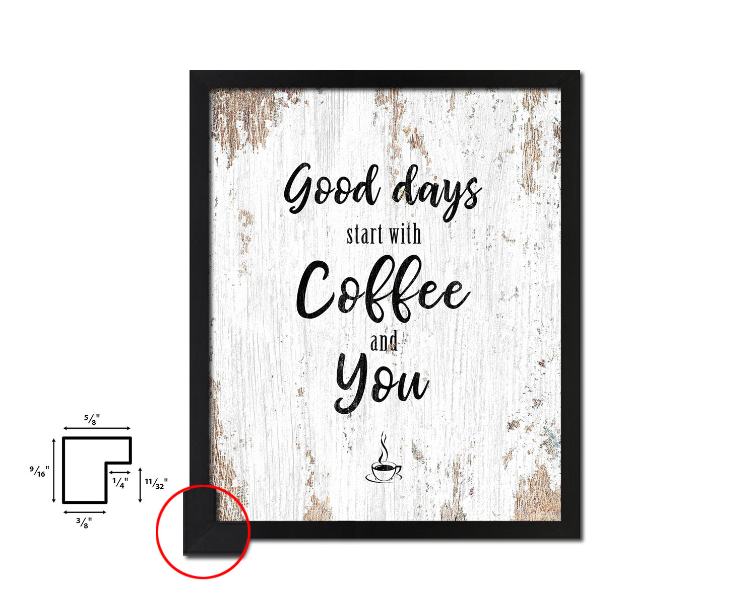 Good ideas start with coffee and you Quote Framed Artwork Print Wall Decor Art Gifts
