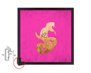 Snake Chinese Zodiac Character Wood Framed Print Wall Art Decor Gifts, Pink