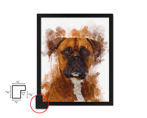 Boxer Dog Puppy Portrait Framed Print Pet Home Decor Custom Watercolor Wall Art Gifts