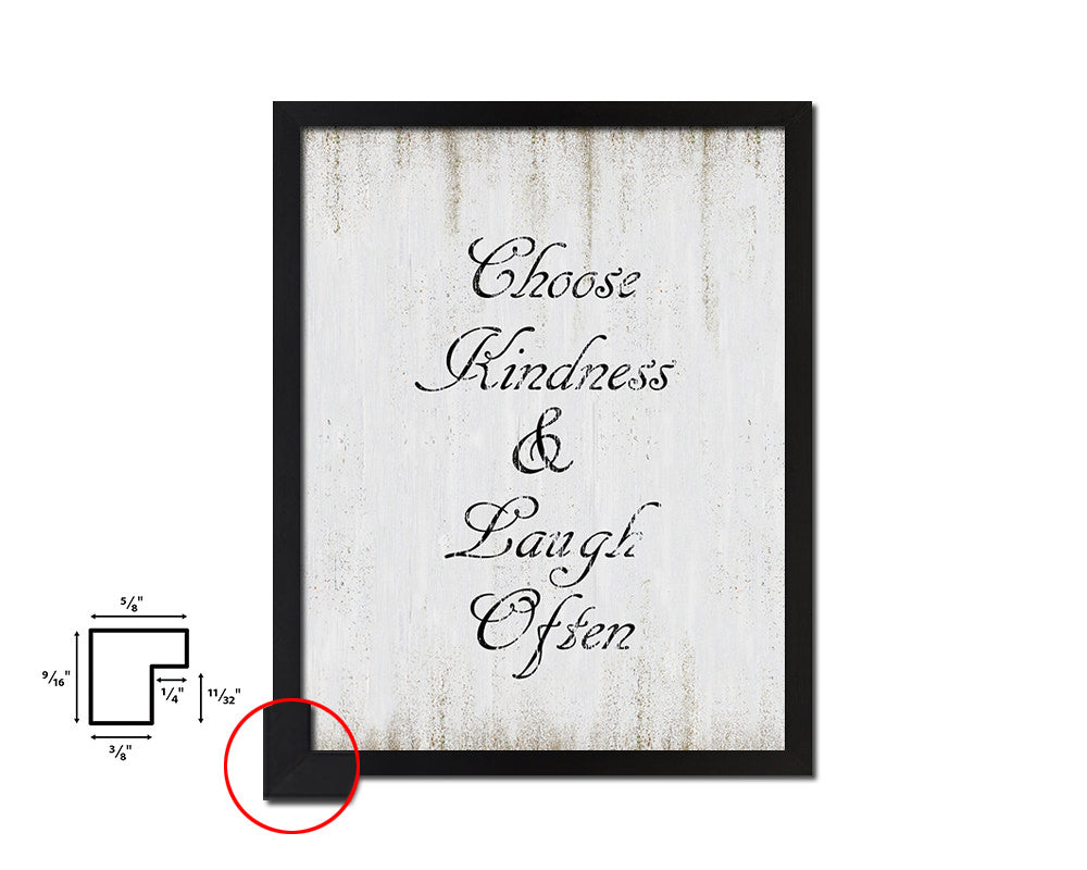 Choose kindness & laugh often Vintage Quote Black Framed Artwork Print Wall Decor Art Gifts