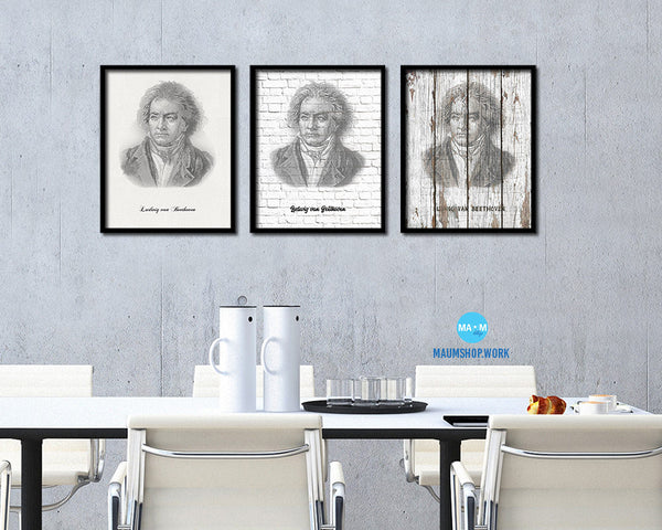 Ludivig van Beethoven Classical Music Framed Print Orchestra Teacher Gifts Home Wall Decor