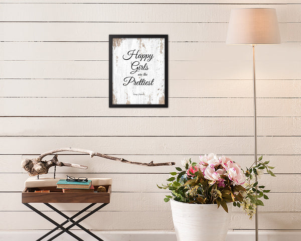 Happy girls are the prettiest Audrey Hepburn Quote Framed Print Home Decor Wall Art Gifts