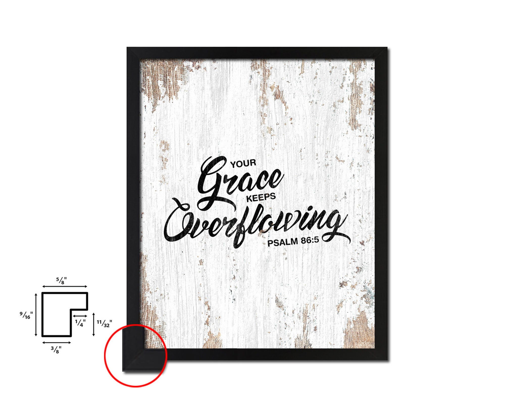 Your grace keeps overflowing, Psalm 86:5 Quote Framed Print Home Decor Wall Art Gifts