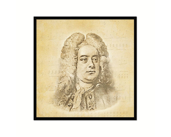 George Frideric Handel Vintage Classical Music Black Framed Print Wall Decor Art Gifts