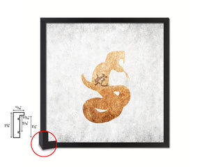Snake Chinese Zodiac Character Wood Framed Print Wall Art Decor Gifts, White