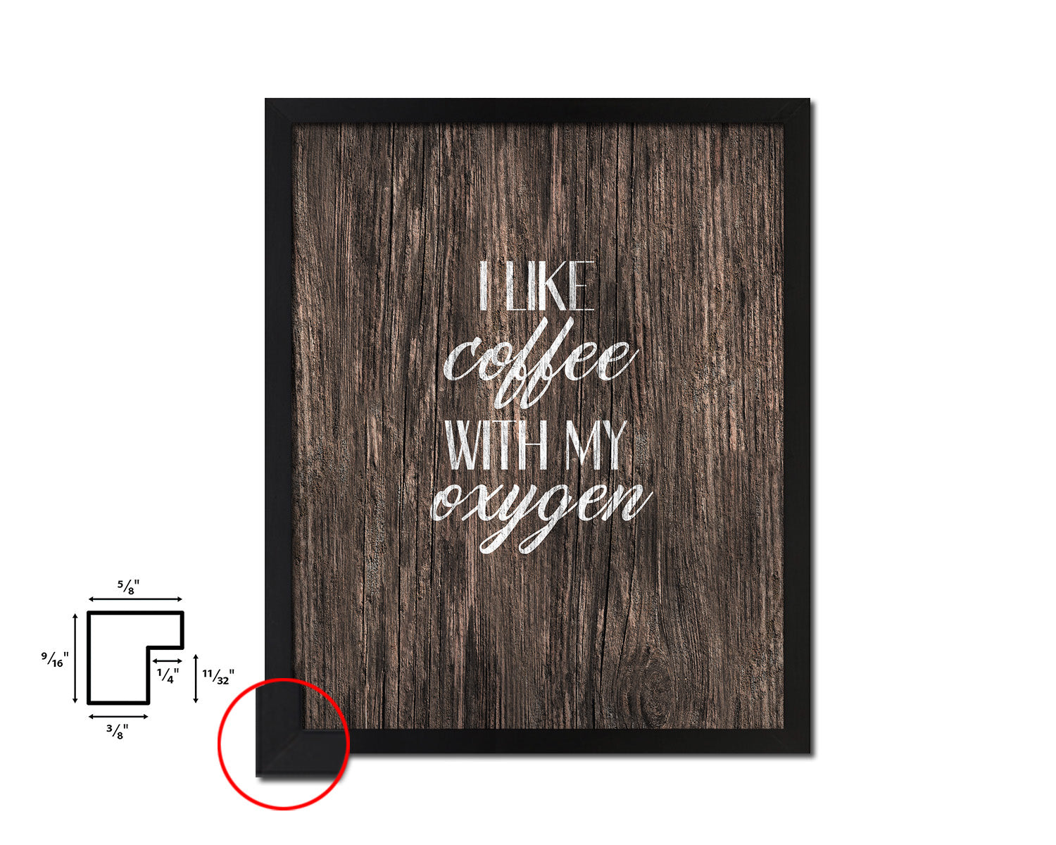 I like coffee with my oxygen Quote Framed Artwork Print Wall Decor Art Gifts