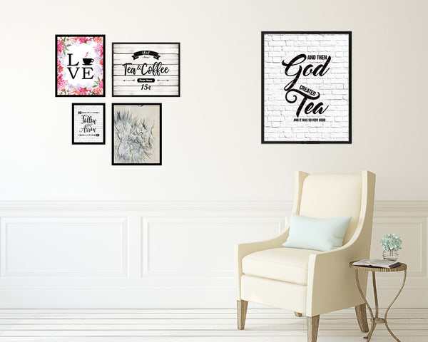 And then god created and it was so very good Quote Wood Framed Print Home Decor Wall Art Gifts