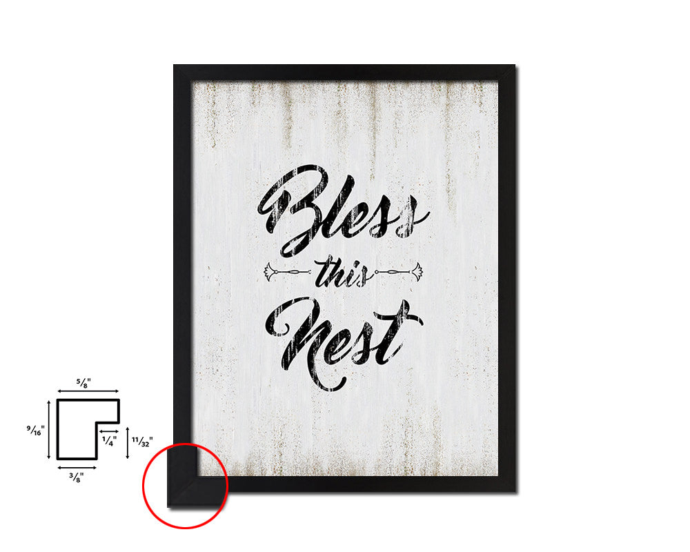 Bless this nest Vintage Quote Black Framed Artwork Print Wall Decor Art Gifts