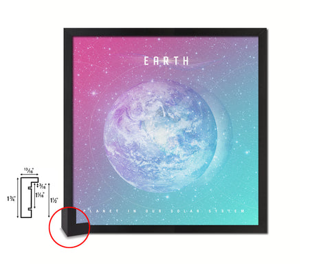 Earth Planet Colorful Prints Watercolor Solar System Framed Print Home Decor Wall Art Gifts