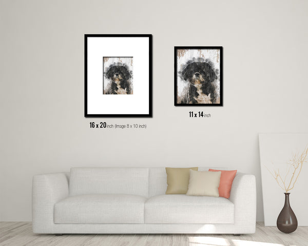 Shih Tzu Dog Puppy Portrait Framed Print Pet Home Decor Custom Watercolor Wall Art Gifts