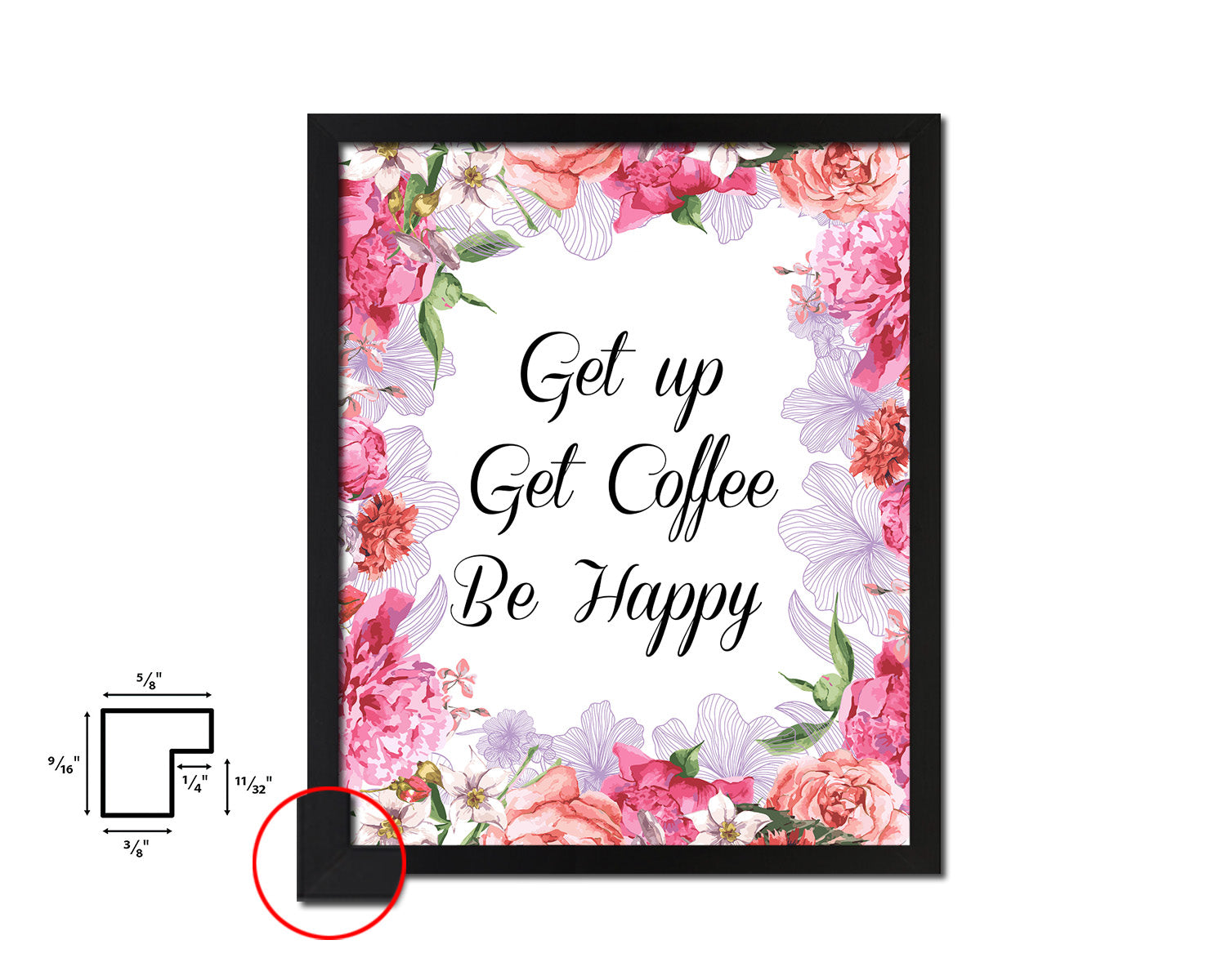 Get up get coffee be happy Quote Framed Artwork Print Wall Decor Art Gifts
