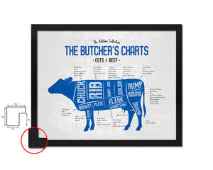 Beef  Meat Cuts Butchers Chart Wood Framed Paper Print Home Decor Wall Art Gifts