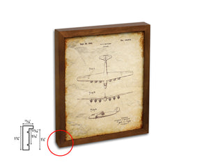 Airport Airplane Vintage Patent Artwork Walnut Frame Print Wall Art Decor Gifts