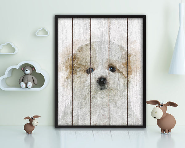 Maltese Dog Puppy Portrait Framed Print Pet Home Decor Custom Watercolor Wall Art Gifts