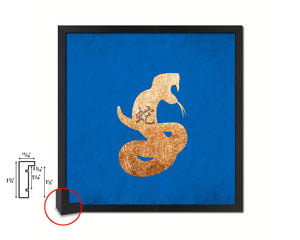 Snake Chinese Zodiac Character Wood Framed Print Wall Art Decor Gifts, Blue