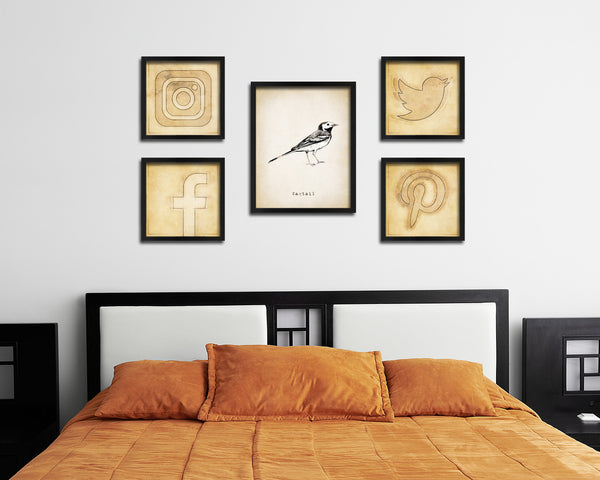 Wagtail Vintage Bird Fine Art Paper Prints Home Decor Wall Art Gifts