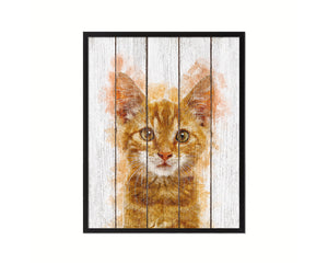 Red Little Cat Kitten Portrait Framed Print Pet Home Decor Custom Watercolor Wall Art Gifts