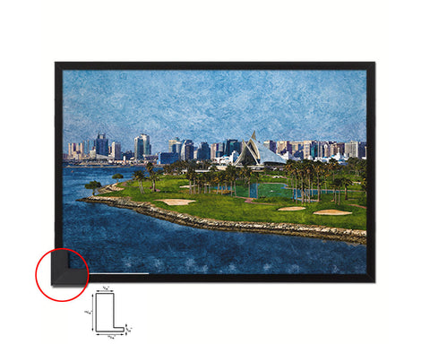 Dubai Creek Golf Course, Yacht Club Artwork Painting Print Art Wood Framed Wall Decor Gifts
