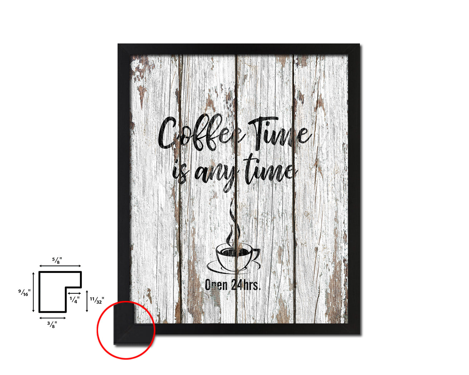 Coffee time is any time Open 24hrs Quote Framed Artwork Print Wall Decor Art Gifts