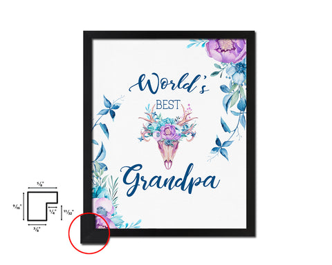 World's best grandpa Boho Father's Day Framed Print Home Decor Wall Art Gifts