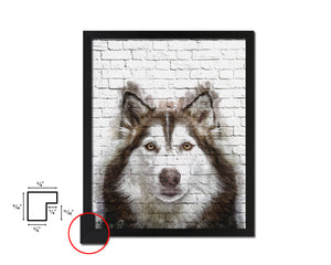 Siberian Husky Dog Puppy Portrait Framed Print Pet Watercolor Wall Decor Art Gifts