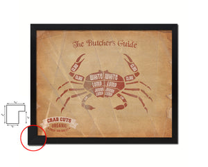 Crab  Meat Cuts Butchers Chart Wood Framed Paper Print Home Decor Wall Art Gifts