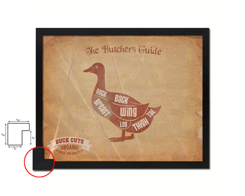 Duck  Meat Cuts Butchers Chart Wood Framed Paper Print Home Decor Wall Art Gifts