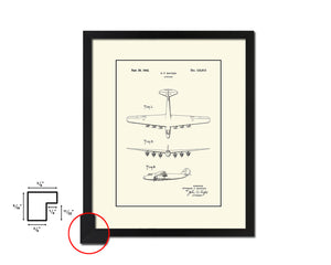 Airport Airplane Vintage Patent Artwork Black Frame Print Wall Art Decor Gifts