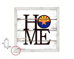 Arizona State Flag Shabby Chic Home Decor White Wash Wood Frame Wall Art Prints Gift