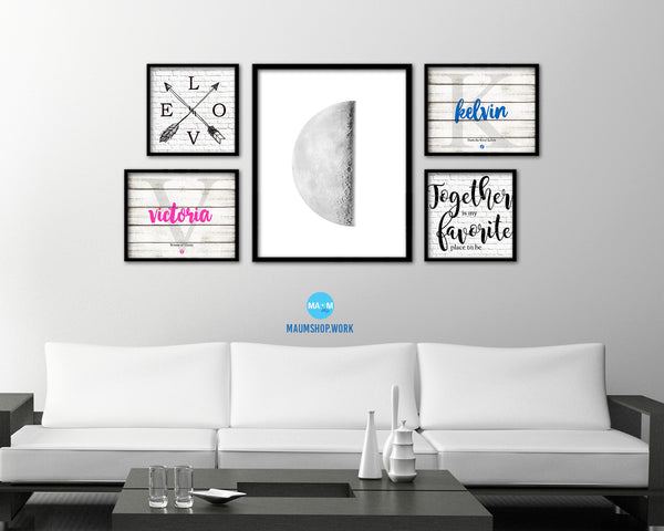Waning Third Quarter Lunar Phases Moon Watercolor Nursery Framed Prints Home Decor Wall Art Gifts