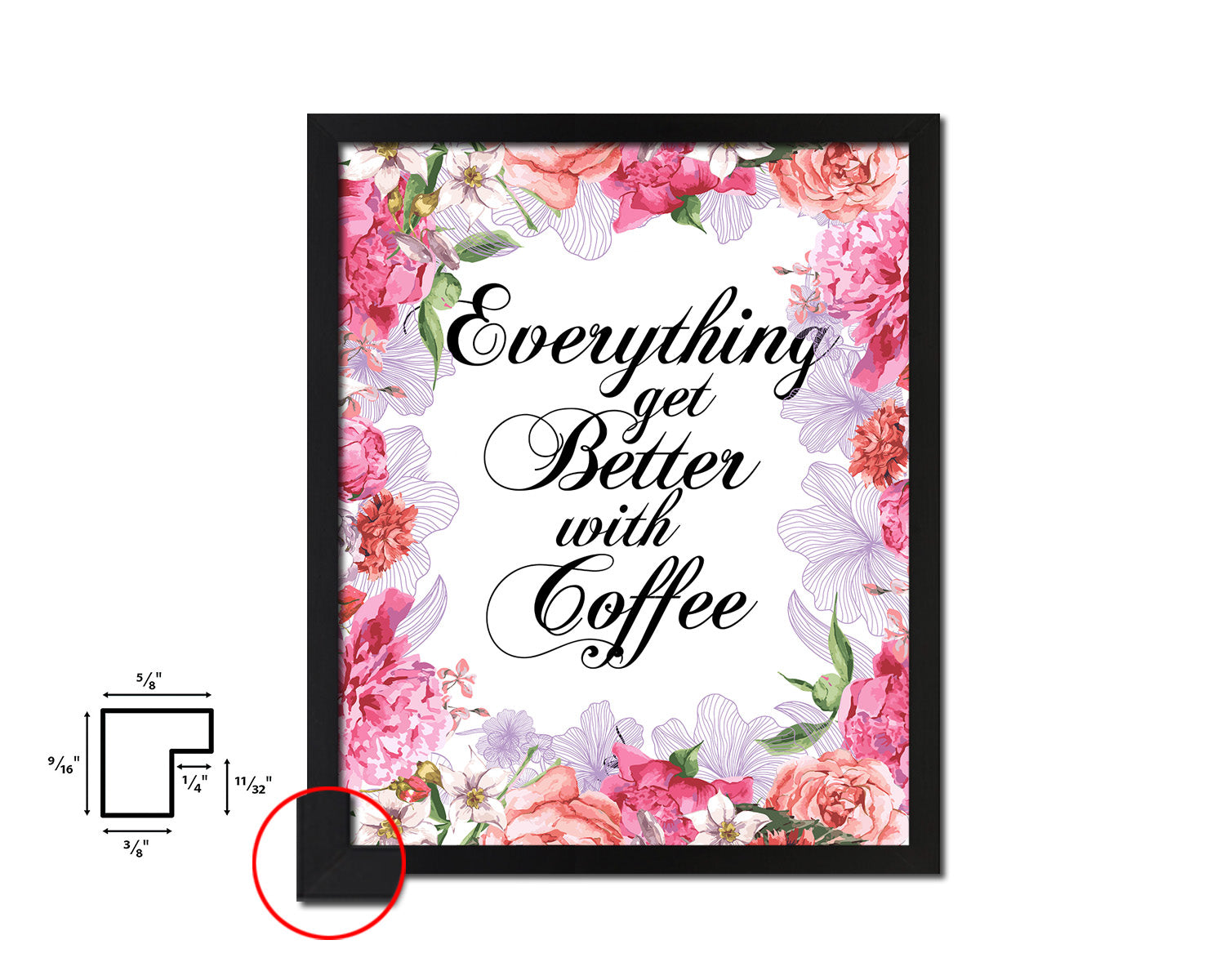 Everything gets better with coffee Quote Framed Artwork Print Wall Decor Art Gifts