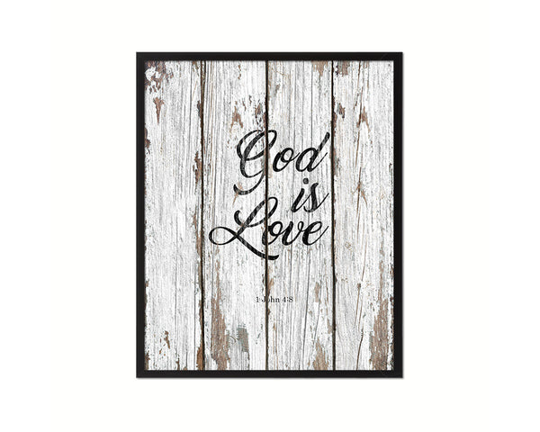 God is love, 1 John 4:8 Quote Wood Framed Print Home Decor Wall Art Gifts